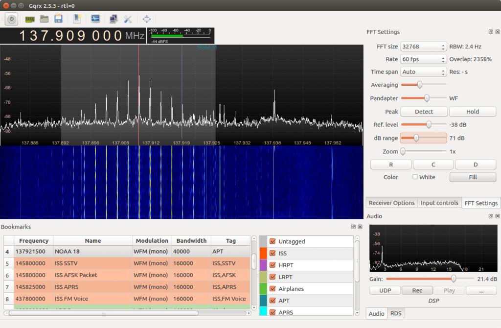 GQRX NOAA 18 Signal