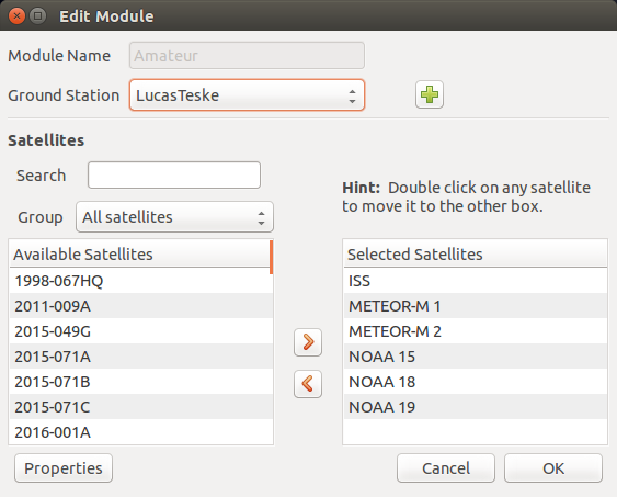 Select Satellites to Track on GPredict