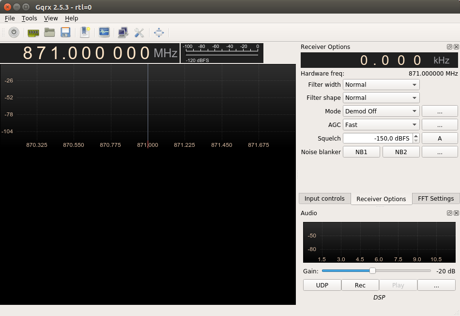Start screen of GQRX