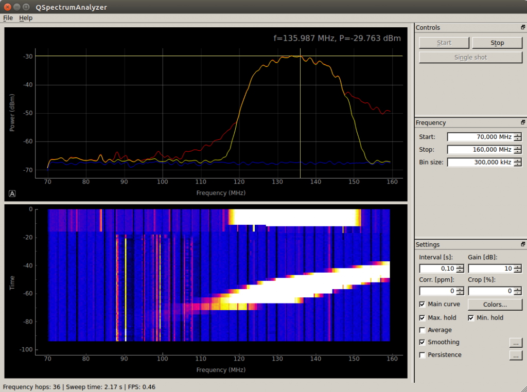 And here is the baseline centered at 134MHz. This is without any filter (just HackRF to the RTLSDR output)