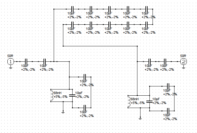 137MHz Bandpass Filter Schematic